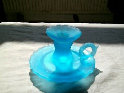 Vintage Blue Pressed Glass Candlestick Holder With Handle