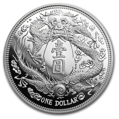 Chinese Vintage Coins Series Long Whiskered Dragon Dollar 1 oz Silver PU Coin
