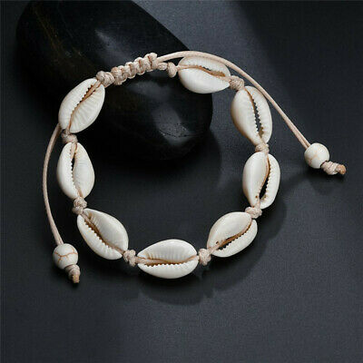 UK BOHO Festival Beach Drawstring Rope Shell Beads Anklet Ankle Chain Bracelet