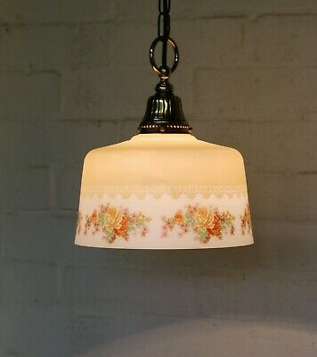An Antique Edwardian Etched Glass Ceiling Light Pendant with Original Gallery