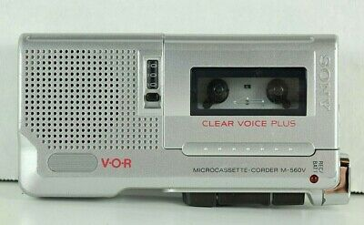 Sony M-560V Microcassette Recorder Tested VOR Clear Voice Plus + 6 tapes KC-20