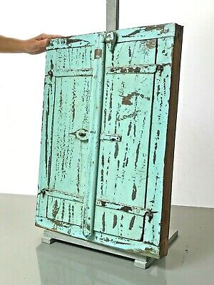 Antique Vintage Indian Reclaimed Shuttered Window Mirror. Baby Blue. Rajasthan.