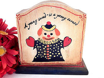 Coin Bank Childrens Piggy Bank Antique 1930s Hand Crafted Clown Penny Saved Box