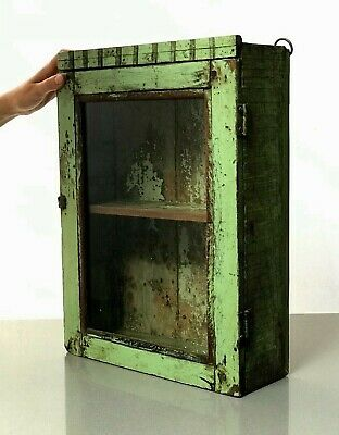 Antique Vintage Indian Art Deco Display, Bathroom Cabinet. Jade