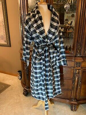 Victorias Secret Plaid Bathrobe 100% Cotton VTG Gold Label RARE M/L HONG KONG VS