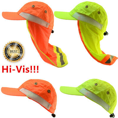 Hi Vis Reflective Sun Work Neon Safety Baseball Bump Cap Neck Flap Wide Brim Hat