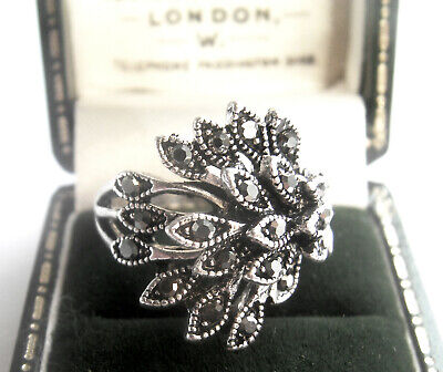 Jewellery Stunning Art Deco Style Marcasite Shining Star Cluster Ring