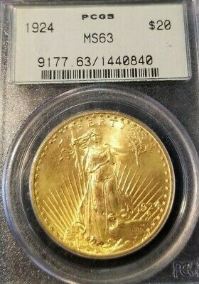 1924 $20 Gold Double Eagle St Gaudens Pcgs Ms 63 Early Gen Green Label !!!