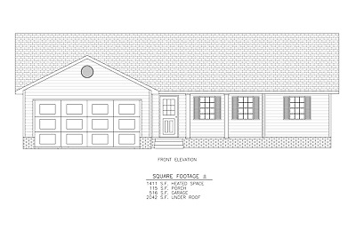 Ranch House Plans 1411 SF 3 Bed 2 Bath Open Floor - Split BR (Blueprints) #1203