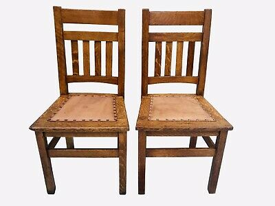 20Th C Antique Arts & Crafts / Mission Oak Leather Seat Craftsman Chairs