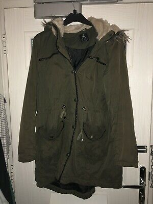 6bb8ee382 PRIMARK KHAKI GREEN Bomber Jacket Size 14 With Black Trim And Silver ...