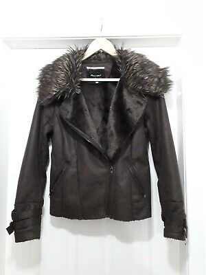 Brave Soul Faux Distressed Suede Leather Jacket UK 12 Brown Faux Fur Lined
