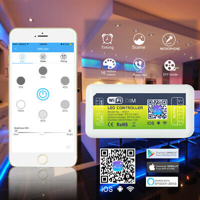 WIFI LED SMART Dimmer Controller For LED Strip Lights Wireless Phone App  Control