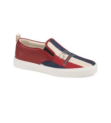 6a550d55 NEW! GUCCI 'SYLVIE' Logo Red White Blue Slip-On Sneaker Men 10 US 9 ...
