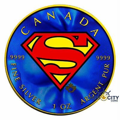 2016 1oz Superman S-Shield Colorized Gold-Gild Silver Coin
