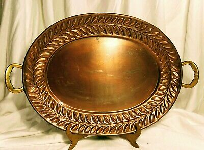 "Large Copper 17""X14"" Metal Tray with Brass Handles leaf design. VINTAGE"