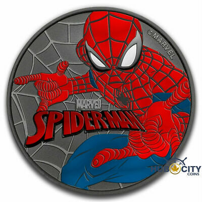 2017 1oz Tuvalu Spider-Man - Marvel Series Colorized Ruthenium Silver Coin