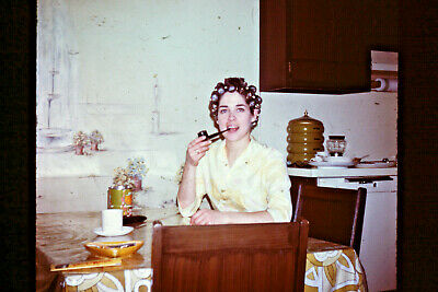 Vtg 1971 Orig 35mm Slide, Pretty Lady in Curlers Smoking Pipe in Kitchen Silly