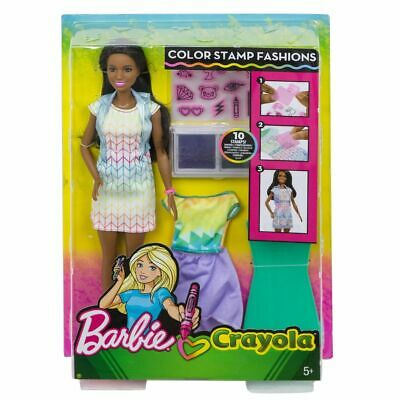 Mattel Barbie Loves Crayola Stamp N Style Doll & Play Set Fashion Doll from 4 J