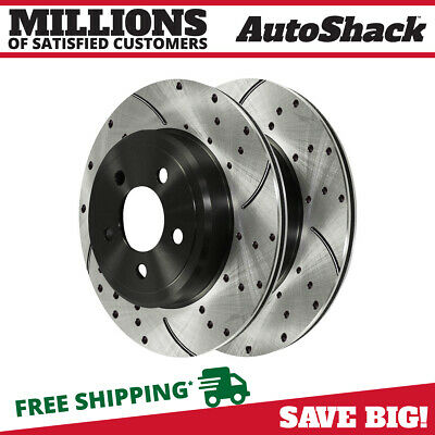 Rear Pair (2) Drilled Slotted Brake Rotors 5 Stud Fits 06-11 2012 Dodge Charger
