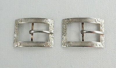 """Pair Antique Sterling Silver 1.5"""" Engraved Shoe Buckles  99095"""