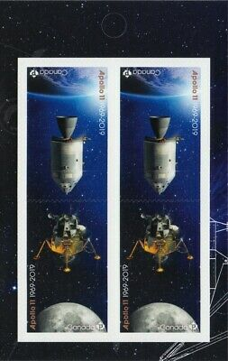 APOLLO 11 = 50th = MIDDLE Booklet page of 4 (2 Tête-Bêche Pairs) Canada 2019 MNH