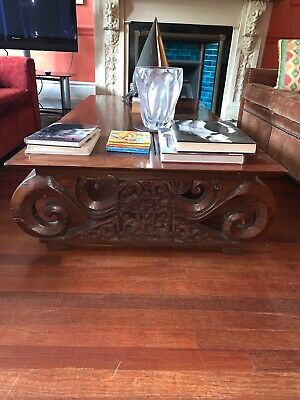 Antique Wooden Coffee Table Carvings 19th Century Chinese or Indonesian inspired