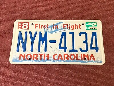 North Carolina License Plate NYM-4134 NICE!