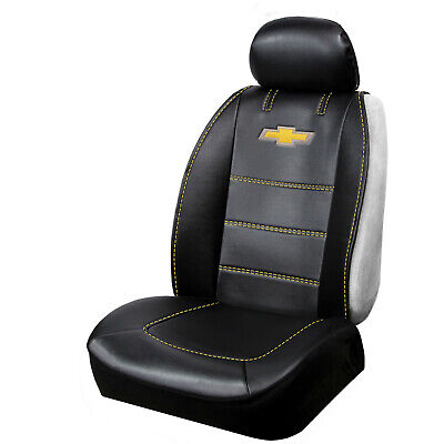 NEW Black Vinyl Chevrolet Logo Car Truck SUV Front  Seat Sideless Cover 1 Piece