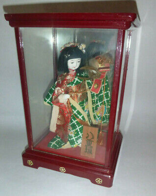 """GEISHA WOMAN 8"""" Tall in Traditional Dress Mounted Inside Wood & Glass Framed Box"""