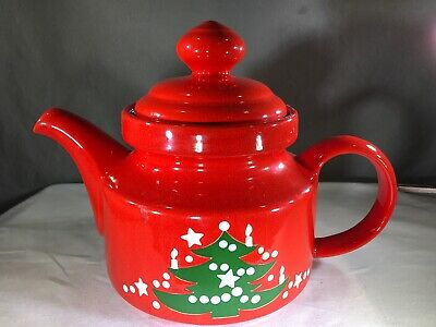 Christmas Tree Teapot & Lid by Waechtersbach Red Green White 5 Cups Germany