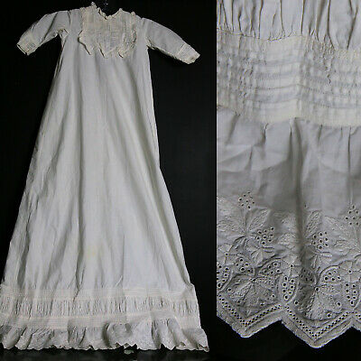 Antique 1800s heirloom baby christening gown dress exquisite Ayrshire lace trim