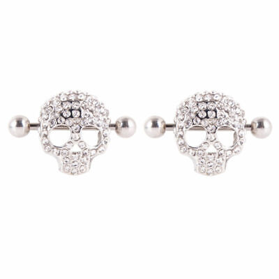 Body Piercing 2pcs Charming Pair 1 Skull Surgical Nipple Rings Steel Jewelry