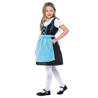Girls Oktoberfest Bavarian Dirndl Waitress German Beer Festival Dress Teal Apron