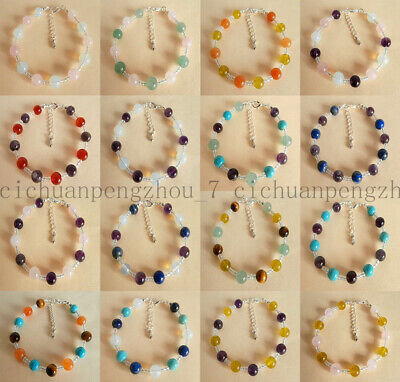 Handmade Exquisite 8mm Multicolor Gemstone Beads Silver Chain Bracelet 7.5'' AAA