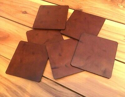 6 pack Brown Rustic RECLAIMED GENUINE LEATHER Coasters bar dining cave RATS BUM