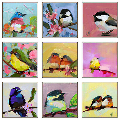 Nordic Watercolor Birds Canvas Oil Painting Print Animal Poster Wall Art Decor