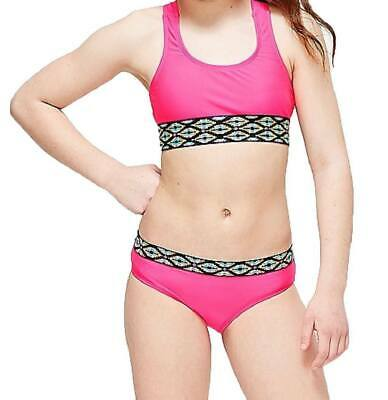 NWT Justice Girls Size 6 7 8 10 or 14 Pink Striped Bikini Bathing Suit