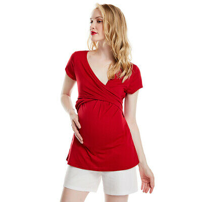 Womens Pregnant Maternity Clothes Nursing Top Breastfeeding Blouse T-Shirt JJ