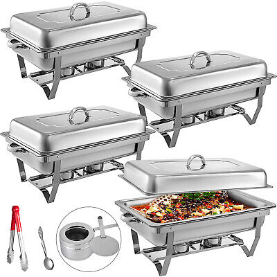 4 Pack Catering Stainless Steel Chafer Chafing Dish Sets 9Qt Buffet Pans