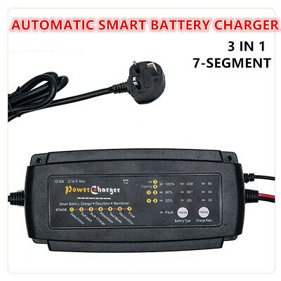 Full Automatic Smart Fast Battery Charger For Car/Motorcycle UK Plug 12V 2/4/8 A