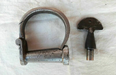*Old Antique Vintage Handcrafted Strong Iron Nickel Lock Handcuff, Collectible