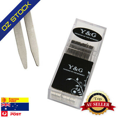 """Silver Metal Collar Stays For Mens Gift Collar Stiffeners 24 Pic 2.5"""" Y&G CS3015"""