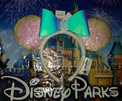 NEW Disney Parks Iridescent Glitter Sequin Minnie Mouse Ears Headband