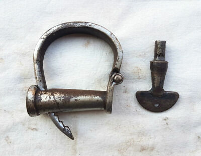 * Old Vintage Antique Handcrafted Strong Iron Nickel Adjustable Lock Handcuff *