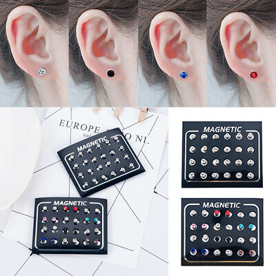 12Pairs Magnetic Crystal Round Earring Non Piercing Clip On Men Women Ear Magnet
