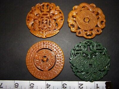Ancient Chinese Artifacts Hongshan Hand Carved Jadeite Jade Lot of 4