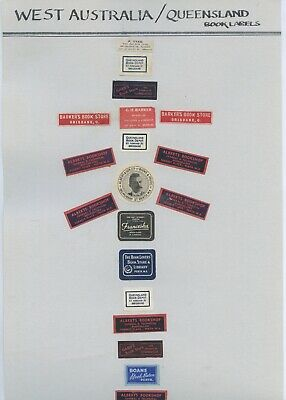 Collection Of Affixed Book Sellers Labels Qld Wa Tas 19Th Century - 1950'S  X96.