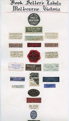 Collection Of Affixed Book Sellers Labels Melbourne 19Th Century - 1950'S  X97