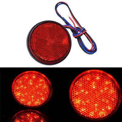 Red Motorcycle Truck Trailer Car Round LED Reflector Tail Brake Stop Light 12V